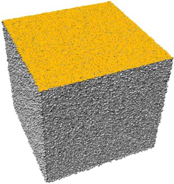 Three dimensional rendering of a Fontainebleau sandstone continuum model. The visualization contains over one million rendered quartz grains.