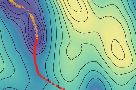 Matthias Bohner und Johannes Kästner stellen eine Methode vor, mit der sich der Pfad kleinster freier Energie berechnen lässt.