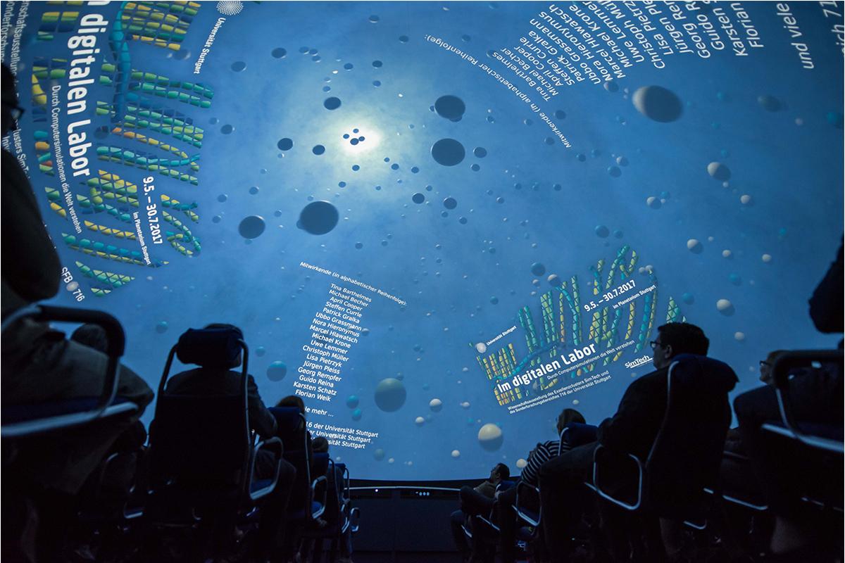 360°-Animationsfilm über Computersimulationen in der Planetariumskuppel