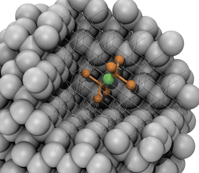 Schematische Darstellung eines NV-Zentrums im Nanodiamant.