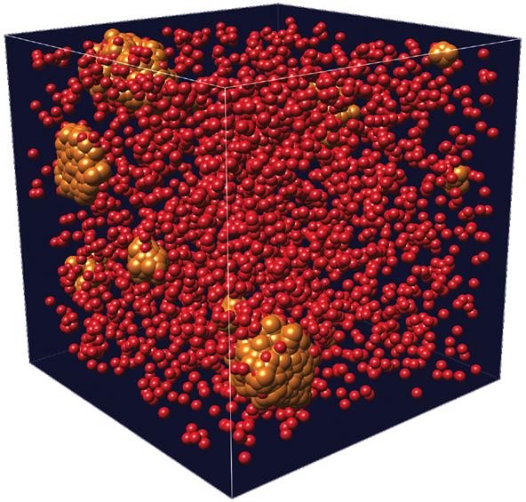 Teilchenbasierte Visualisierung von Argonmolekülen.