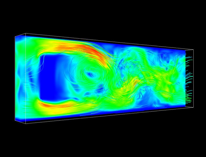 Darstellung eines Flussprofils in einem Kanal mit einem Hindernis, berechnet mit Hilfe des GPU Lattice-Boltzmann Lösers, welcher Teil der Molekular-Dynamik Software ESPResSo ist. Die Farben repräsentieren die Geschwindigkeit der Flüssigkeit (rot = hoch, blau = niedrig). Die Flüssigkeit fliesst dabei von links nach rechts und mithilfe der Flusslinien wird das komplexe Verhalten der Flüssigkeit hinter dem Hindernis aufgezeigt.
