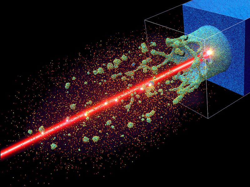 Teilchenwolken einer simulierten Laserablation nach circa 40 Pikosekunden. Die rote Achse zeigt den eigentlich unsichtbaren Laserstrahl.