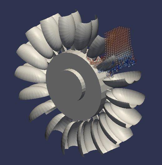 Stark vereinfachte Simulation einer hydraulischen Maschine. Das Fluid wird mit der Smoothed Particle Hydrodynamics Methode modelliert.