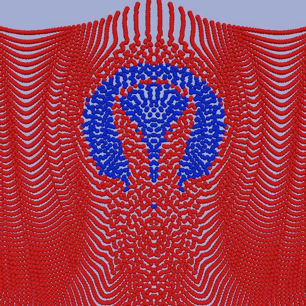 Simulation einer aufsteigenden Einzelblase nahe einer freien Oberfläche.